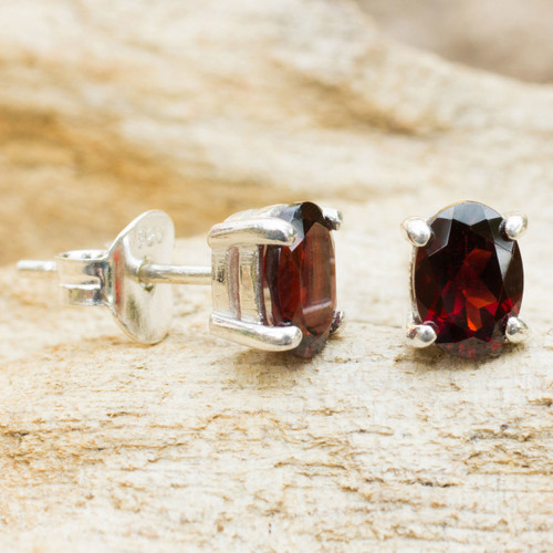 Garnet Stud Earrings Sterling Silver Thai Jewelry 'Sparkling'