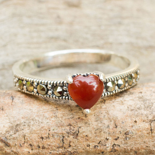 Thai Silver and Marcasite Ring with a Red Onyx Heart 'True Love Sparkle'