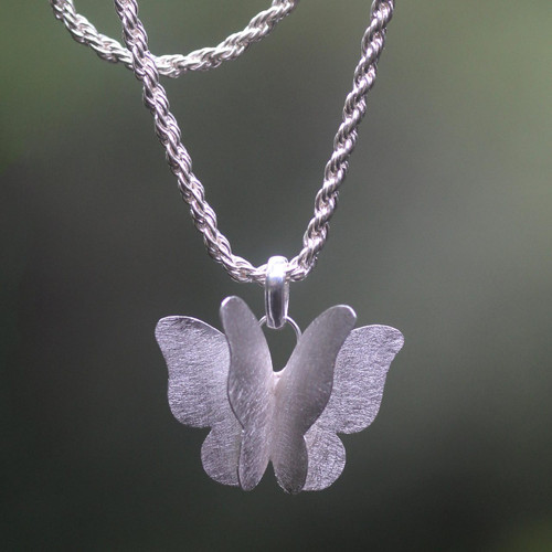 Three-dimensional Butterfly on Sterling Silver Necklace 'Graceful Butterfly'