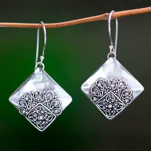 Modern Balinese Handcrafted Sterling Silver Earrings 'Besakih Garden'