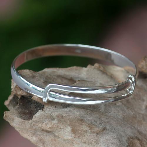Balinese Handcrafted Sterling Silver Bangle Bracelet 'Tender Embrace'