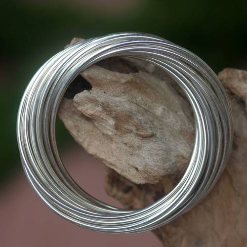Modern Artisan Crafted Sterling Silver Bangle 'United in Strength'
