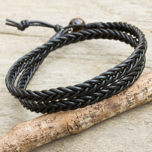 Mens Hand Braided Black Leather Wrap Bracelet 'Double Ebony'