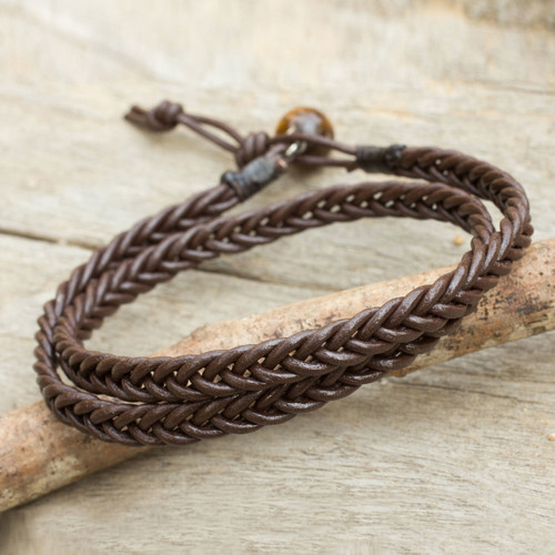 Hand Braided Brown Leather Mens Wrap Bracelet 'Double Chocolate'