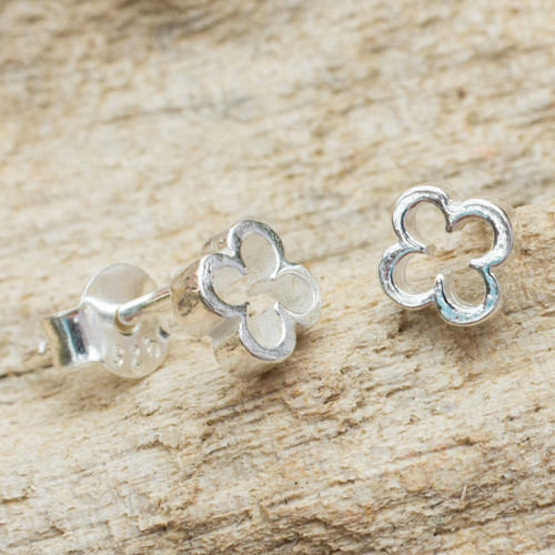 Thai Fair Trade Sterling Stud Earrings 'Four-Leaf Clover'