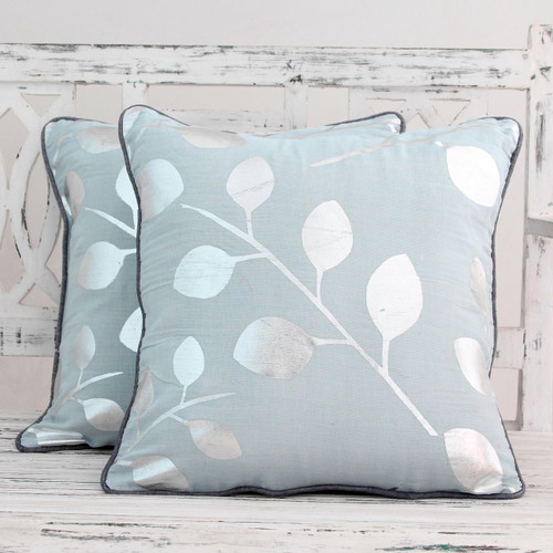 Pale Blue Cotton Cushion Covers with Silver Leaves (Pair) 'Drifting Leaves'