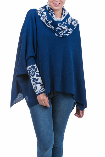Blue and White Baby Alpaca Poncho with Rose Motif 'Blue Roses'