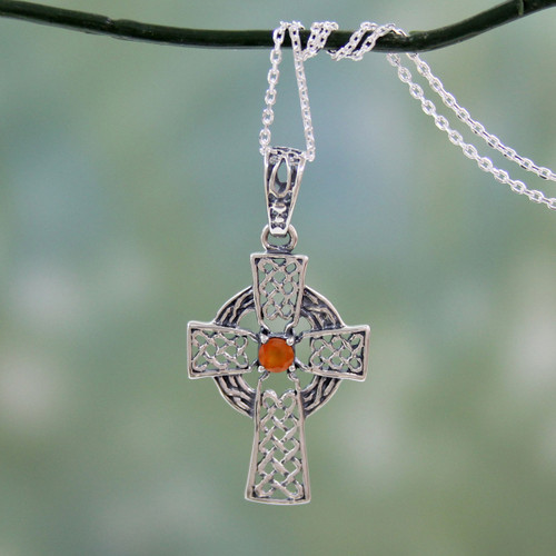 Artisan Crafted Carnelian and Silver Celtic Cross Necklace 'Radiant Celtic Cross'