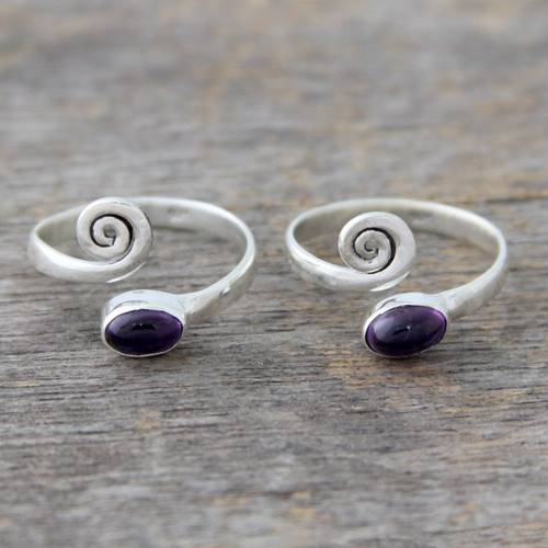Amethyst and Sterling Silver Toe Rings from India (Pair) 'Curls'