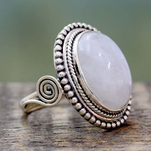India Sterling Silver Cocktail Ring with Rainbow Moonstone 'Rainbow Glow'