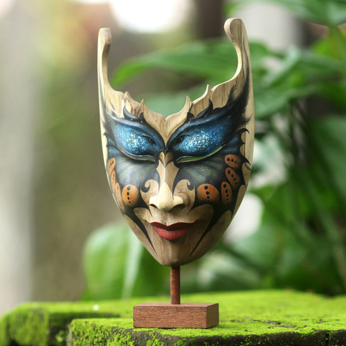 Butterfly Theme Balinese Hibiscus Wood Mask 'Queen of the Butterflies'