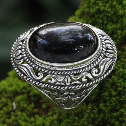 Ornate Handcrafted Onyx and Silver Bali Cocktail Ring 'Amed Eclipse'