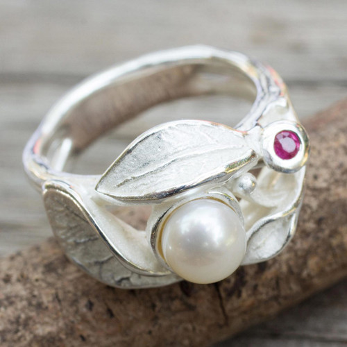 Contemporary Sterling Silver Pearl and Ruby Ring 'Frosted Foliage'