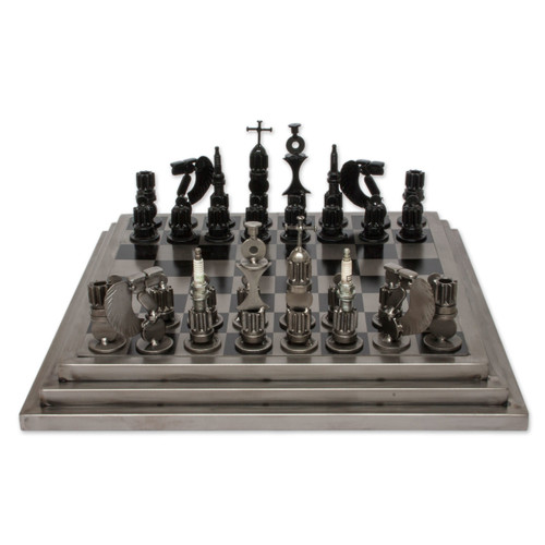 Upcycled Car Parts Chess Set Artisan Crafted in Mexico 'Rustic Warriors'