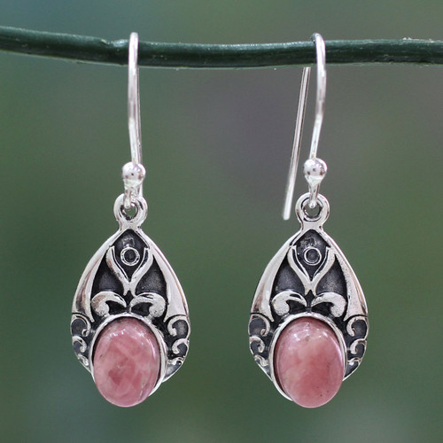 Antique Style Handcrafted Rosy Agate and Silver Earrings 'Agra Princess'