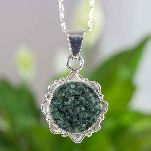 Dark Green Guatemalan Jade Necklace in Sterling Silver 'North and South'