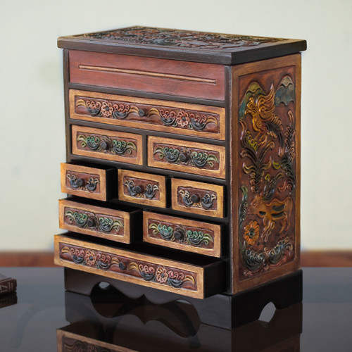 Flora and Fauna Cedar and Leather Jewelry Box with Drawers 'Nature's Glory'
