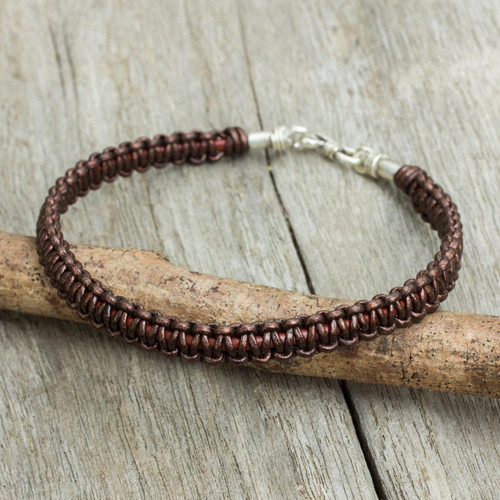 Men's Bracelet Handmade in Brown Leather and Silver 'Essence of Style in Brown'