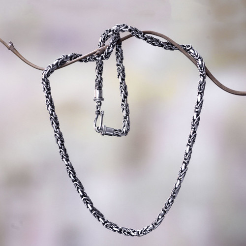 Handcrafted Sterling Silver Chain Necklace from Bali 'Black Python'