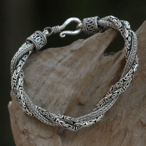 Handcrafted Triple Braid Sterling Silver Bracelet from Bali 'Sanca Batik'