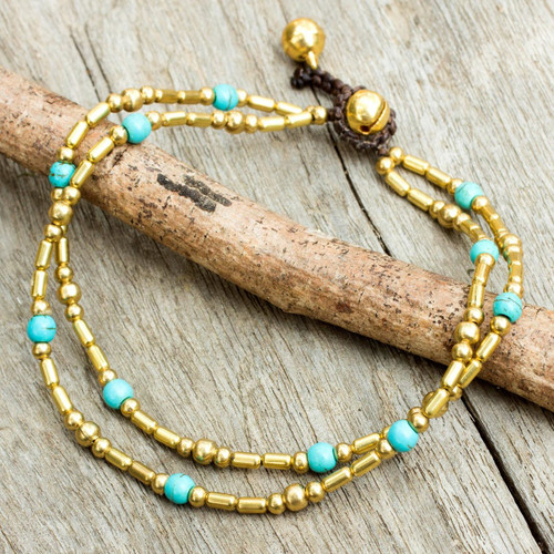 Thailand Blue Calcite Double Strand Brass Bead Anklet 'Golden Bell'