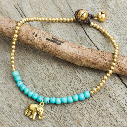 Blue Calcite Elephant Charm Beaded Brass Anklet 'Stylish Elephant'