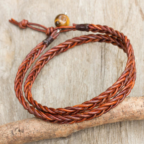 Men's Hand Braided Brown Leather Wrap Bracelet 'Double Cinnamon'