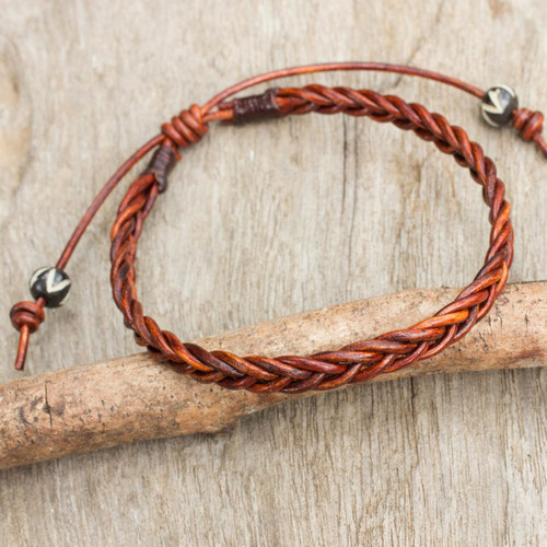 Cinnamon Brown Leather Braided Bracelet from Thailand 'Cinnamon Braid'