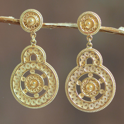 Andean Gold Vermeil Filigree Earrings Crafted by Hand 'Love Goes Around'