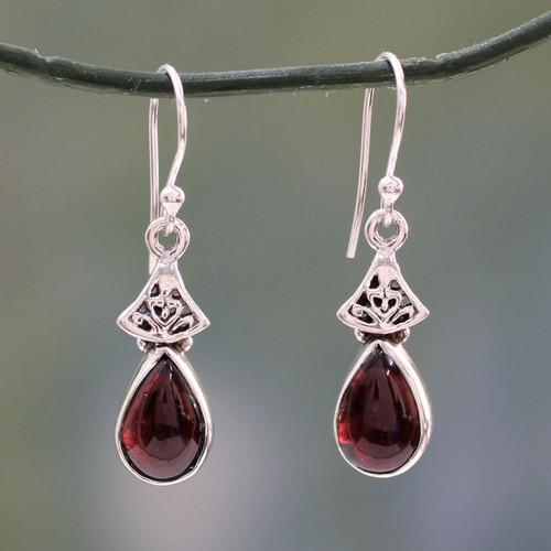 Garnet Earrings in Sterling Silver from India 'Crimson Morn'