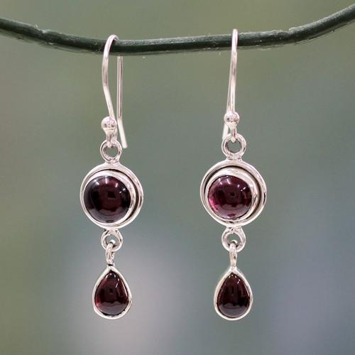 Garnet and Sterling Silver Earrings Handmade in India 'Crimson Glow'