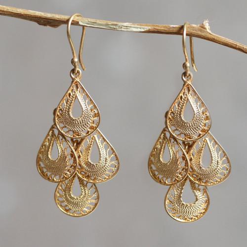 Gold Vermeil Handcrafted Filigree Chandelier Earrings 'Raindrop Cascade'