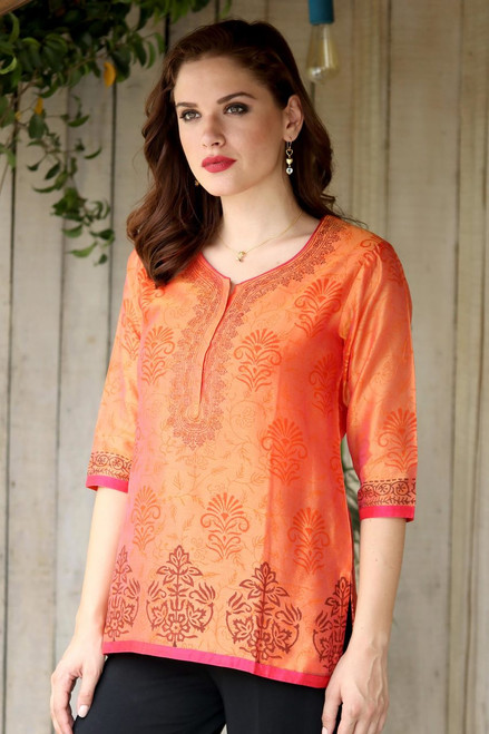 Chanderi Tunic Hand Block Printed Cotton Silk Blend 'Tangerine Temptress'