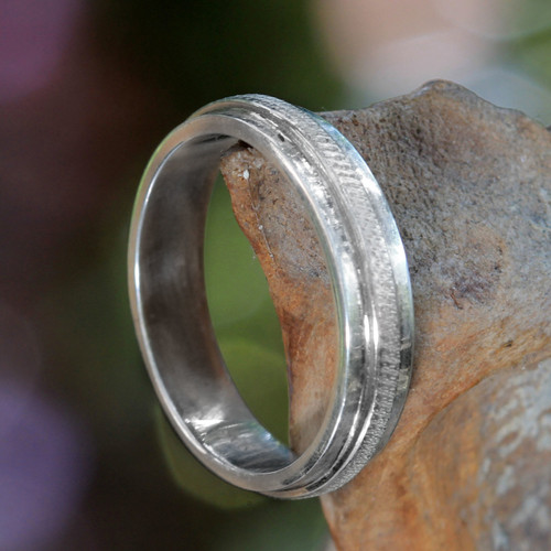 Fair Trade Artisan Jewelry Sterling Silver Band Ring 'Artful'