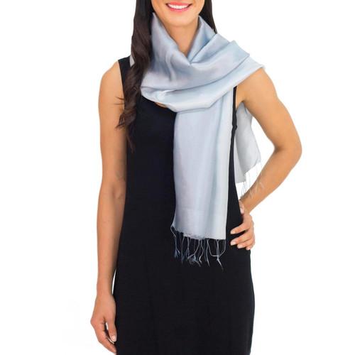 Fair Trade Silver Grey Rayon and Silk Scarf 'Silver Shimmer'