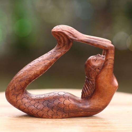 Signed Balinese Mermaid Sculpture Carved in Wood 'Dhanurasana Mermaid'