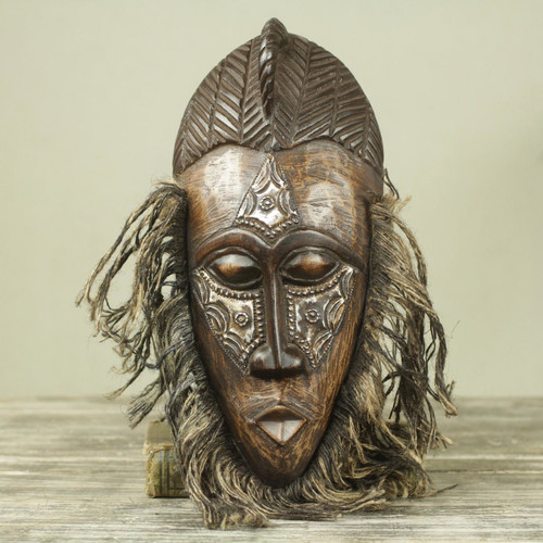 Original African Tribal Dance Mask Crafted in Wood and Metal 'Frafra Dancer'