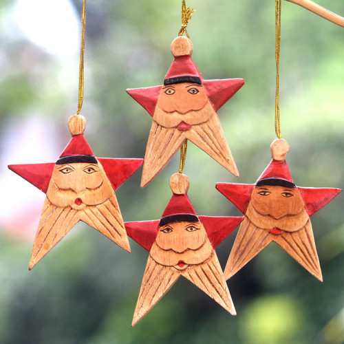 Santa Claus Star Wood Ornaments Handmade in Bali (Set of 4) 'Red Santa Stars'