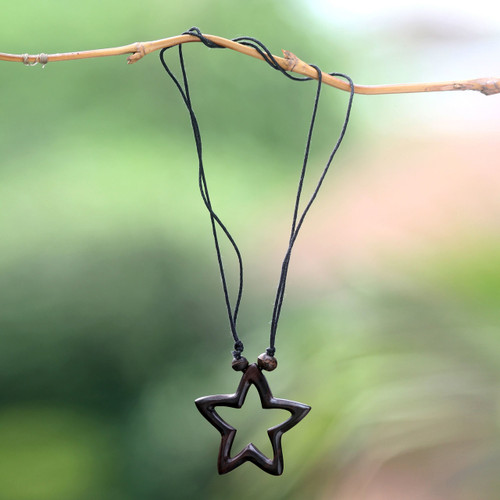 Star Theme Hand Crafted Bali Wood Necklace 'My Star of Hope'