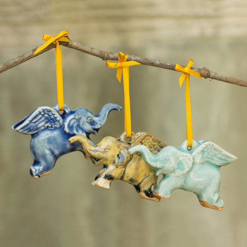 Hand Crafted Ornaments in Celadon Ceramic (Set of 3) 'Flying Elephants'