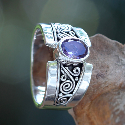 Artisan Crafted Sterling Silver Ring with Amethyst 'Purple Karma'