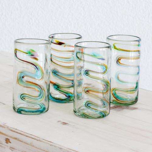Tumbler Glasses Hand Blown Glass Art 11 oz  (Set of 4) 'Rainbow Ripple'