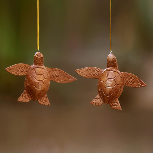 2 Turtle Wood Ornaments Artisan Crafted in Indonesia 'Patient Turtle'
