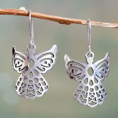 Angelic Sterling Silver Earrings in Openwork Jewelry 'Cajamarca Angels'