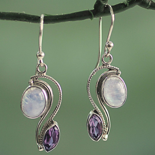 India Handcrafted Amethyst and Rainbow Moonstone Earrings 'Colorful Curves'