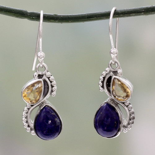 Silver and Lapis Lazuli Earrings with Faceted Citrine 'Two Teardrops'