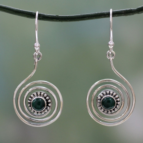 Malachite and Sterling Silver Earrings from India 'Spiral Forest'