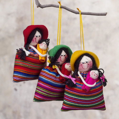 Andean Women with Babies Ornaments Seasonal Decor (Set of 3) 'Cholita Mommies'