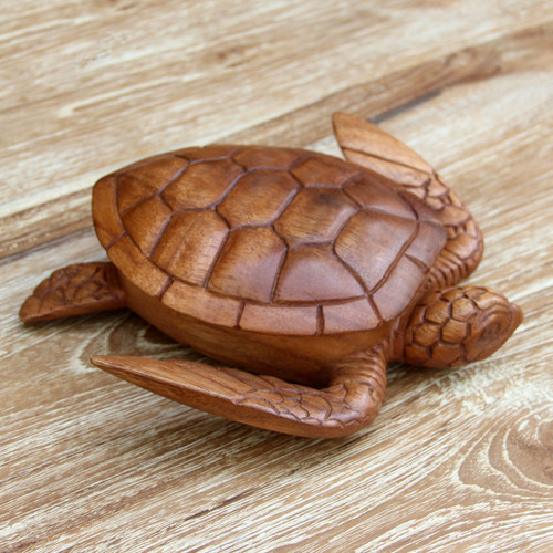Hand Carved Wood Sculpture Decorative Box 'Sea Turtle Guardian'