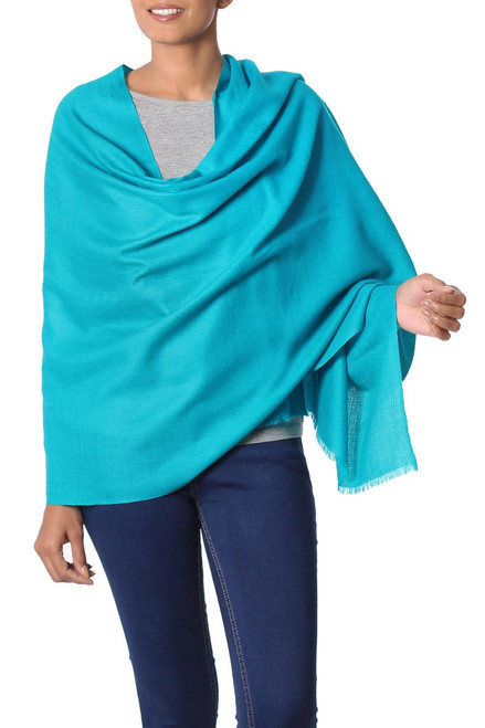 Turquoise Blue Woven Wool Shawl from India 'Valley Mist in Turquoise'